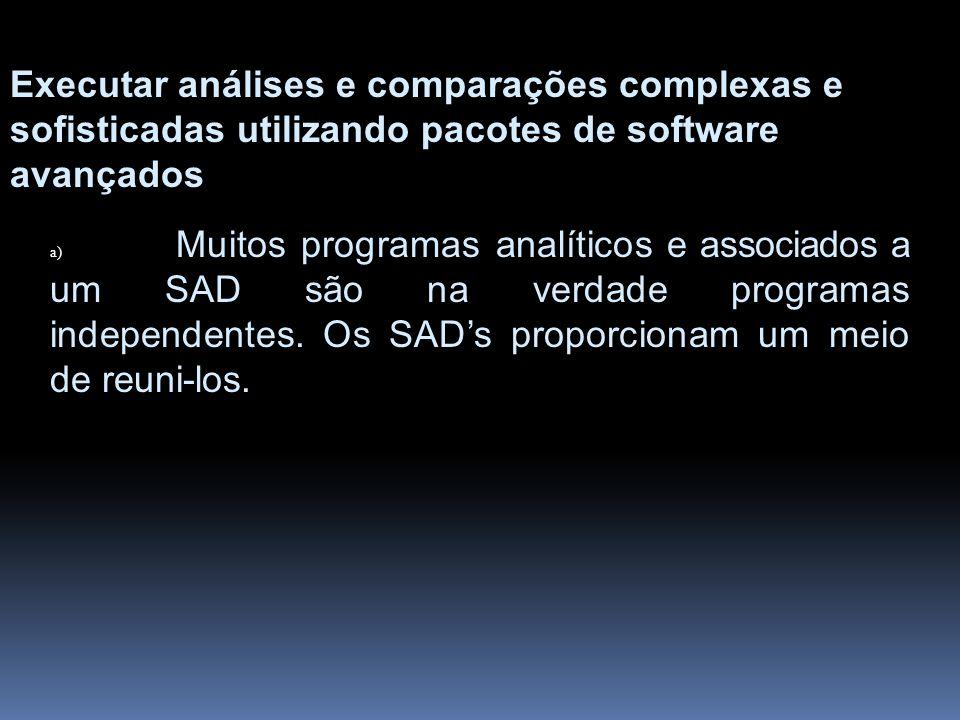 Executar análises e comparações complexas e sofisticadas utilizando pacotes de software avançados a) Muitos programas analíticos e associados a um SAD