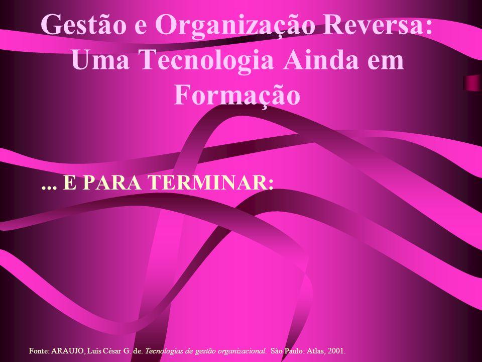 Gestão e Organização Reversa: Uma Tecnologia Ainda em Formação... E PARA TERMINAR: Fonte: ARAUJO, Luis César G. de. Tecnologias de gestão organizacion