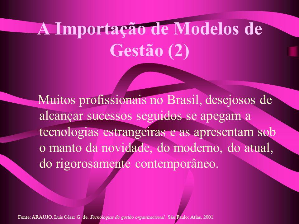 A Importação de Modelos de Gestão (2) Muitos profissionais no Brasil, desejosos de alcançar sucessos seguidos se apegam a tecnologias estrangeiras e as apresentam sob o manto da novidade, do moderno, do atual, do rigorosamente contemporâneo.
