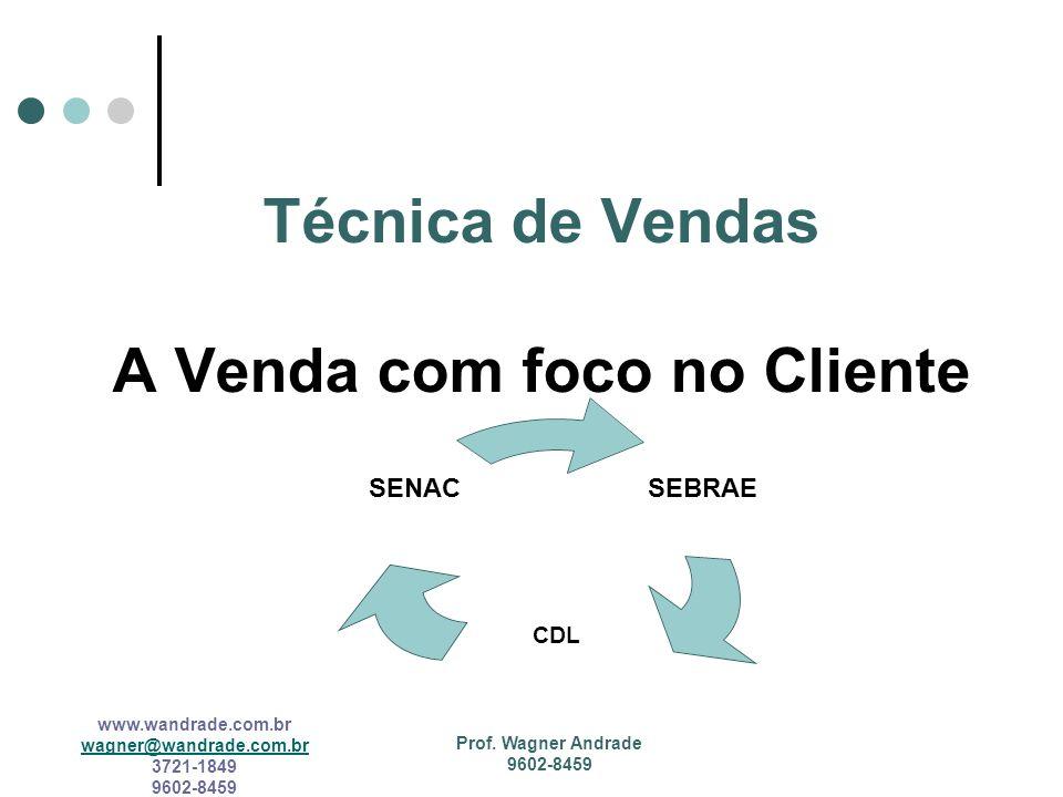 www.wandrade.com.br wagner@wandrade.com.br 3721-1849 9602-8459 Vendedor consultor O vendedor hoje deixou de ser um tirador de pedidos e passou a ser um agente desencadeador de negócios.