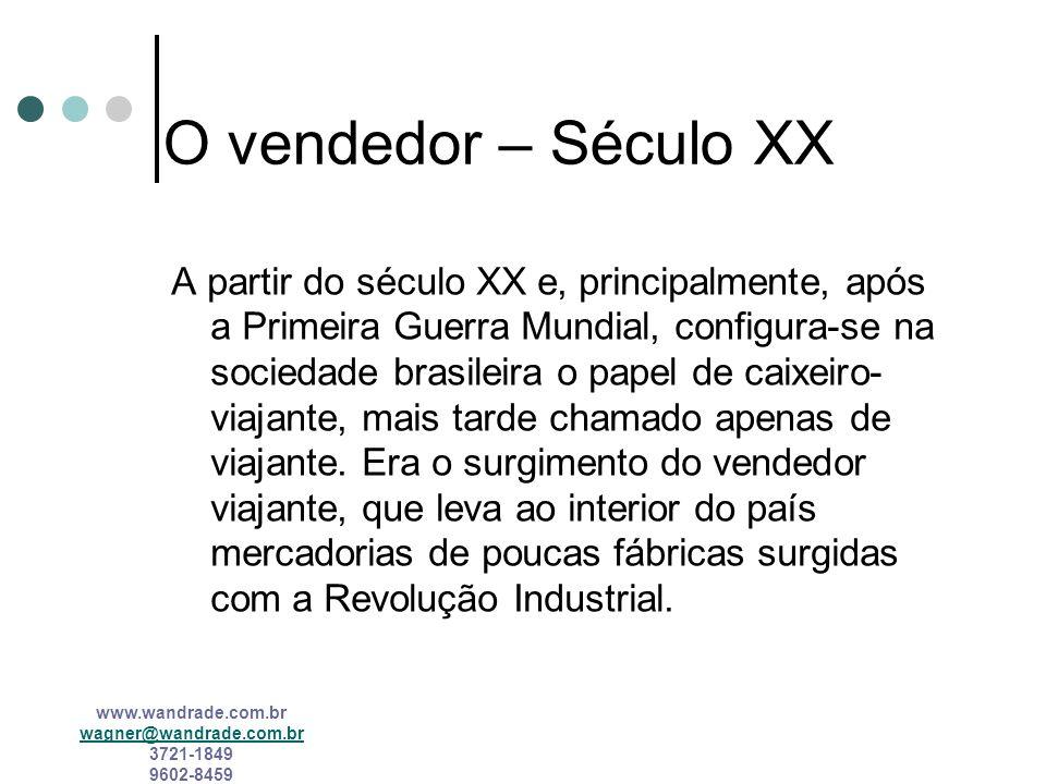 www.wandrade.com.br wagner@wandrade.com.br 3721-1849 9602-8459 O vendedor – A Colônia e o Império O mascate praticamente sustentou a vida comercial br