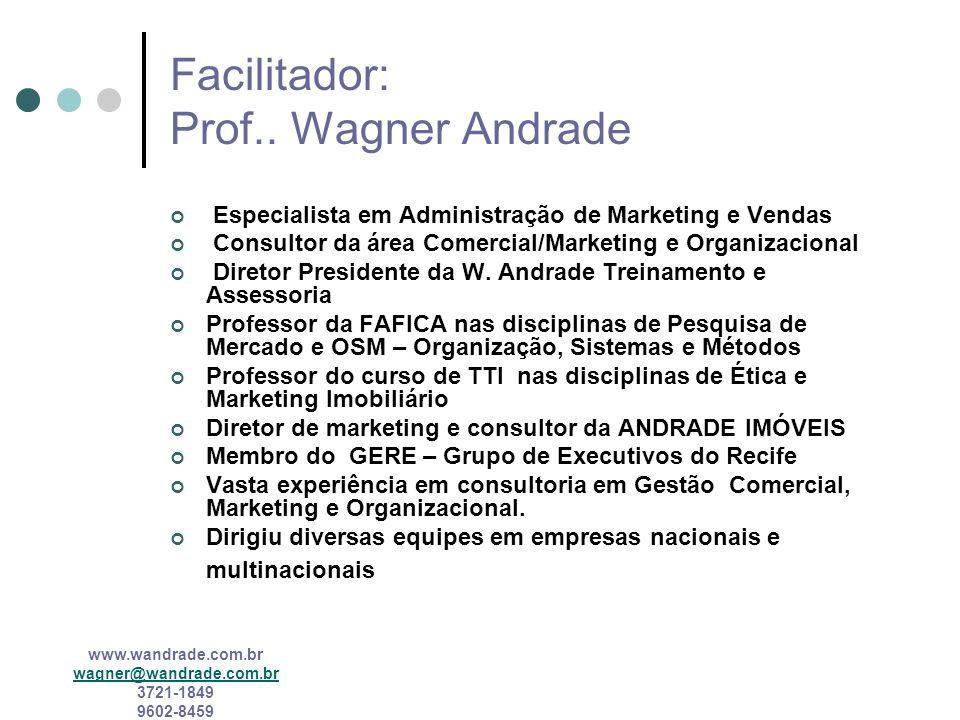 www.wandrade.com.br wagner@wandrade.com.br 3721-1849 9602-8459 COMPETÊNCIA GLOBALIZADA Qualidade Mundo (quase) sem fronteiras Instabilidade dos mercados Competitividade Fim dos monopólios Conceito mundial de clientes