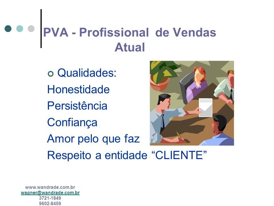 www.wandrade.com.br wagner@wandrade.com.br 3721-1849 9602-8459 PROFISSIONAL DE VENDAS ATUAL Competências múltiplas Novas exigências de conhecimento Ag