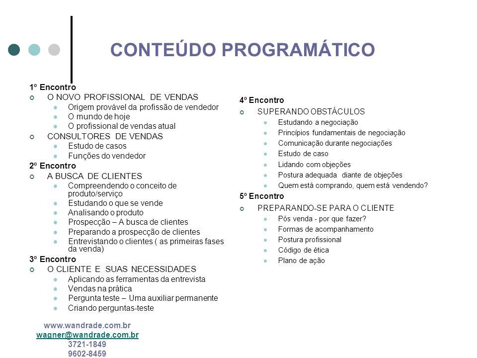 www.wandrade.com.br wagner@wandrade.com.br 3721-1849 9602-8459 PROFISSIONAL DE VENDAS ATUAL Competências múltiplas Novas exigências de conhecimento Agilidade Habilidades Variadas Mudança para as relações de trabalho