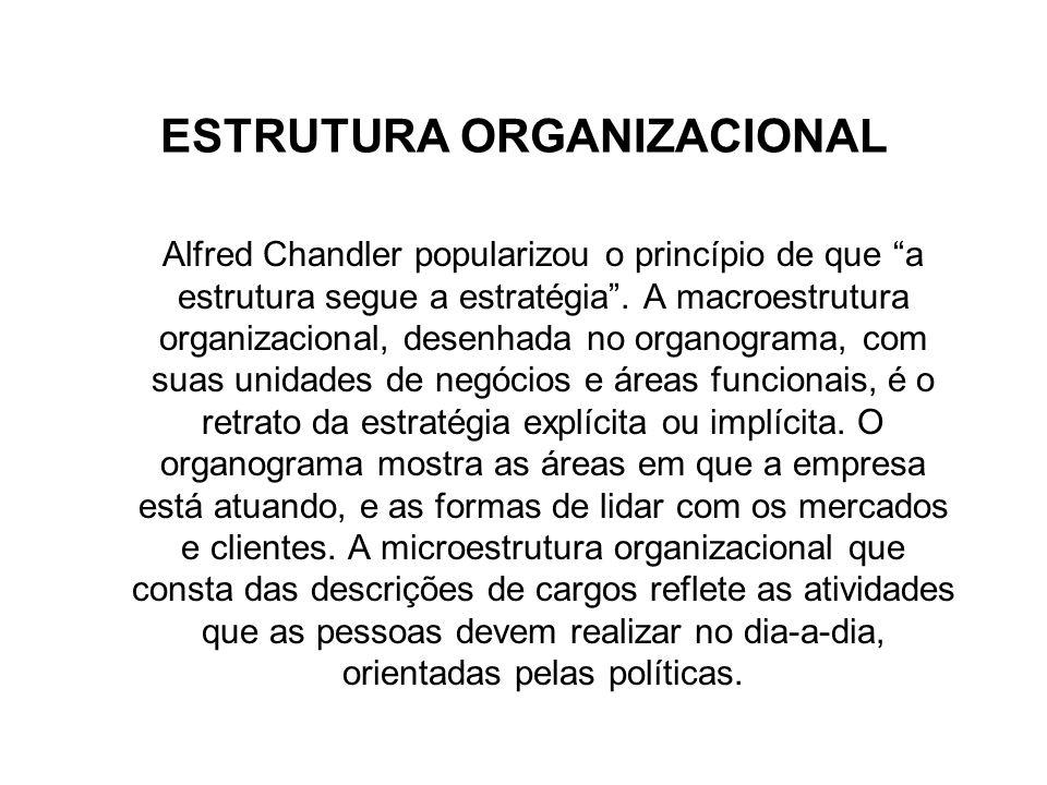 ESTRUTURA ORGANIZACIONAL Alfred Chandler popularizou o princípio de que a estrutura segue a estratégia. A macroestrutura organizacional, desenhada no