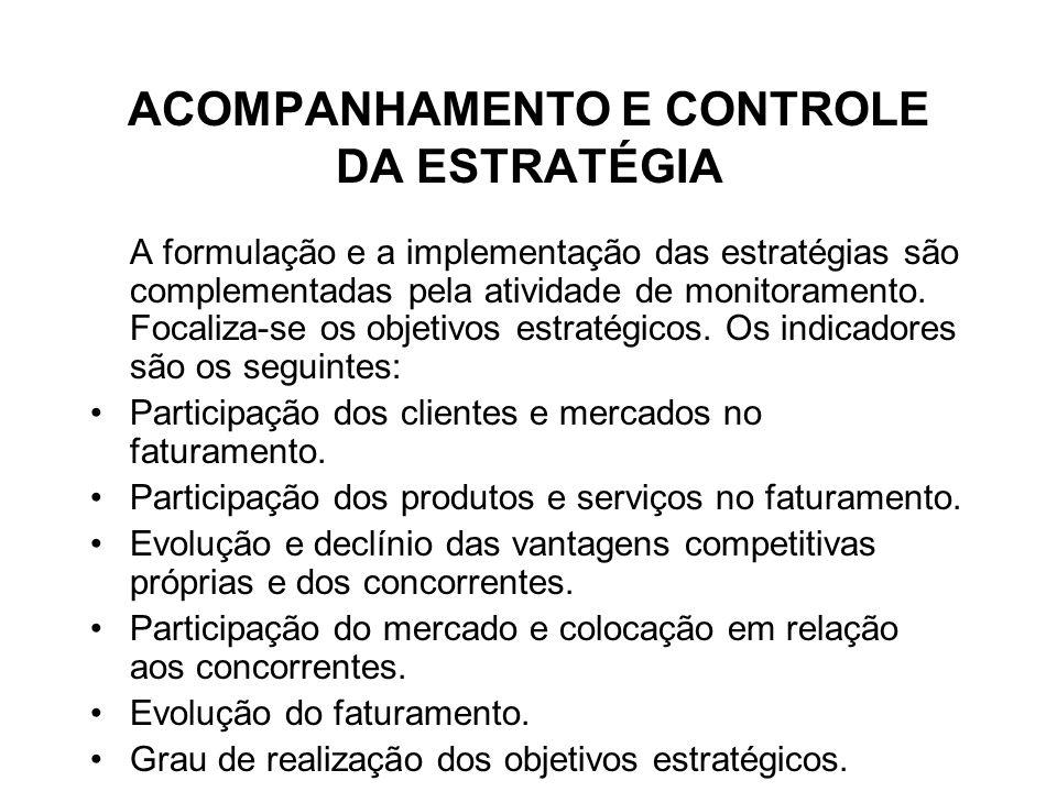 ACOMPANHAMENTO E CONTROLE DA ESTRATÉGIA A formulação e a implementação das estratégias são complementadas pela atividade de monitoramento. Focaliza-se