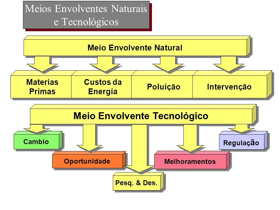 Meios Envolventes Naturais e Tecnológicos Materias Primas Materias Primas Custos da Energía Custos da Energía Poluição Intervenção Meio Envolvente Nat