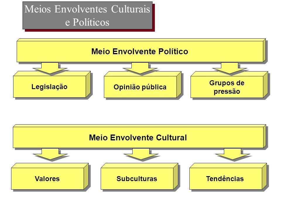 Meios Envolventes Culturais e Políticos Legislação Opinião pública Meio Envolvente Político Grupos de pressão Grupos de pressão Valores Subculturas Me