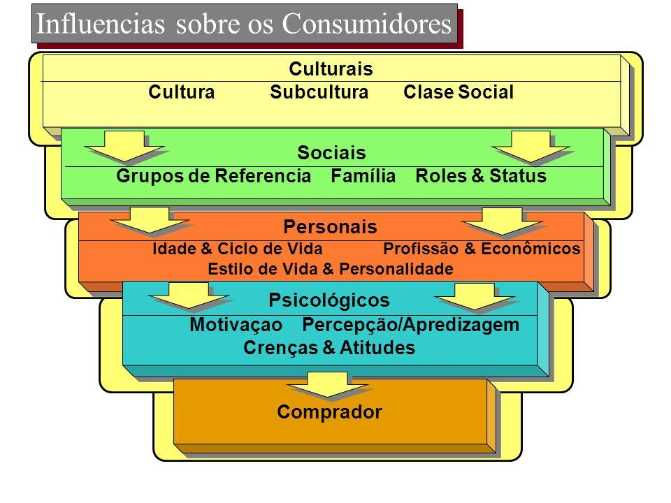 Influencias sobre os Consumidores Culturais Cultura Subcultura Clase Social Culturais Cultura Subcultura Clase Social Sociais Grupos de Referencia Fam