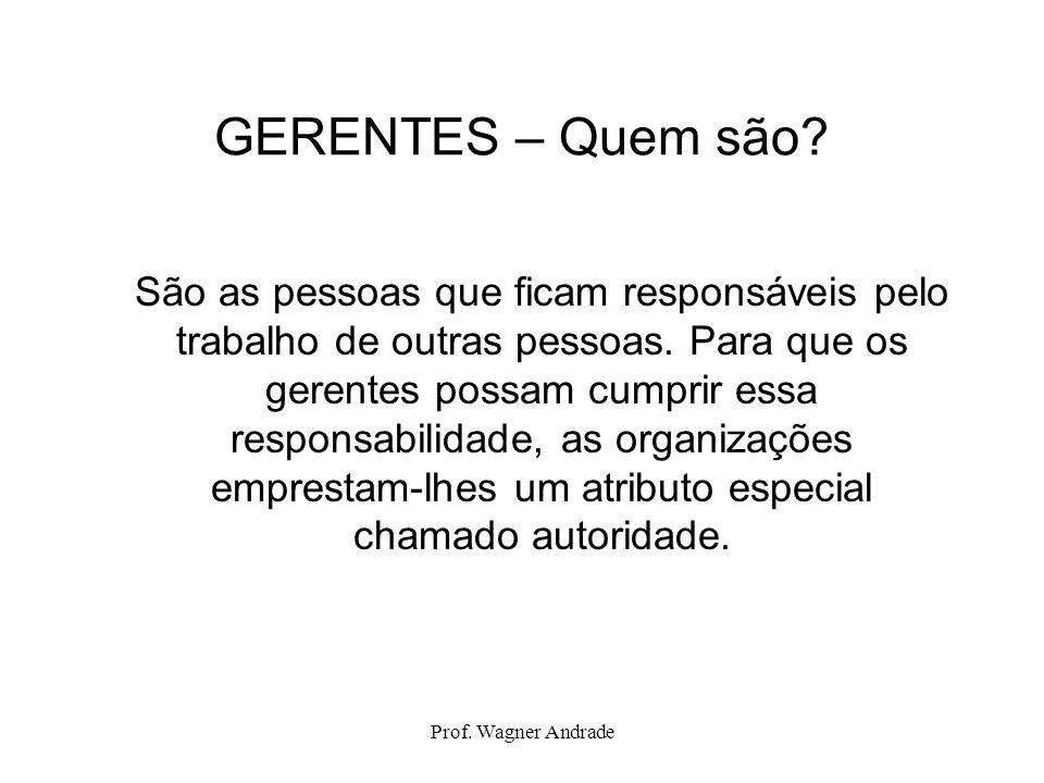 Prof. Wagner Andrade GERENTES – Quem são? São as pessoas que ficam responsáveis pelo trabalho de outras pessoas. Para que os gerentes possam cumprir e