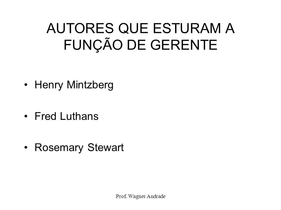 Prof. Wagner Andrade AUTORES QUE ESTURAM A FUNÇÃO DE GERENTE Henry Mintzberg Fred Luthans Rosemary Stewart