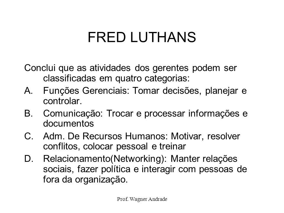 Prof. Wagner Andrade FRED LUTHANS Conclui que as atividades dos gerentes podem ser classificadas em quatro categorias: A.Funções Gerenciais: Tomar dec