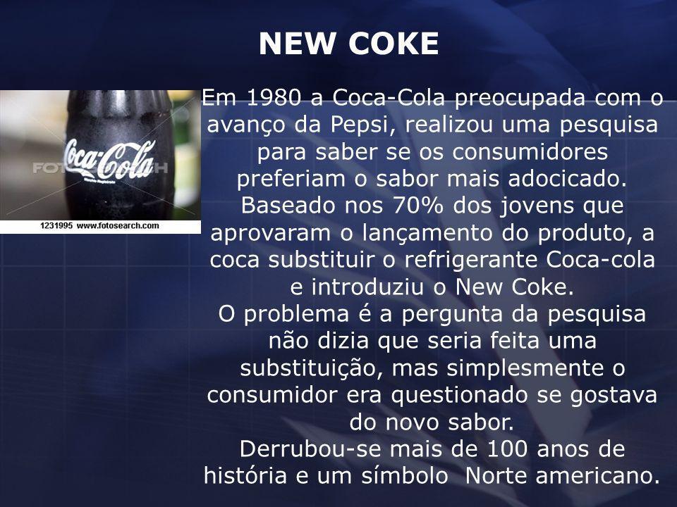 Em 1980 a Coca-Cola preocupada com o avanço da Pepsi, realizou uma pesquisa para saber se os consumidores preferiam o sabor mais adocicado. Baseado no