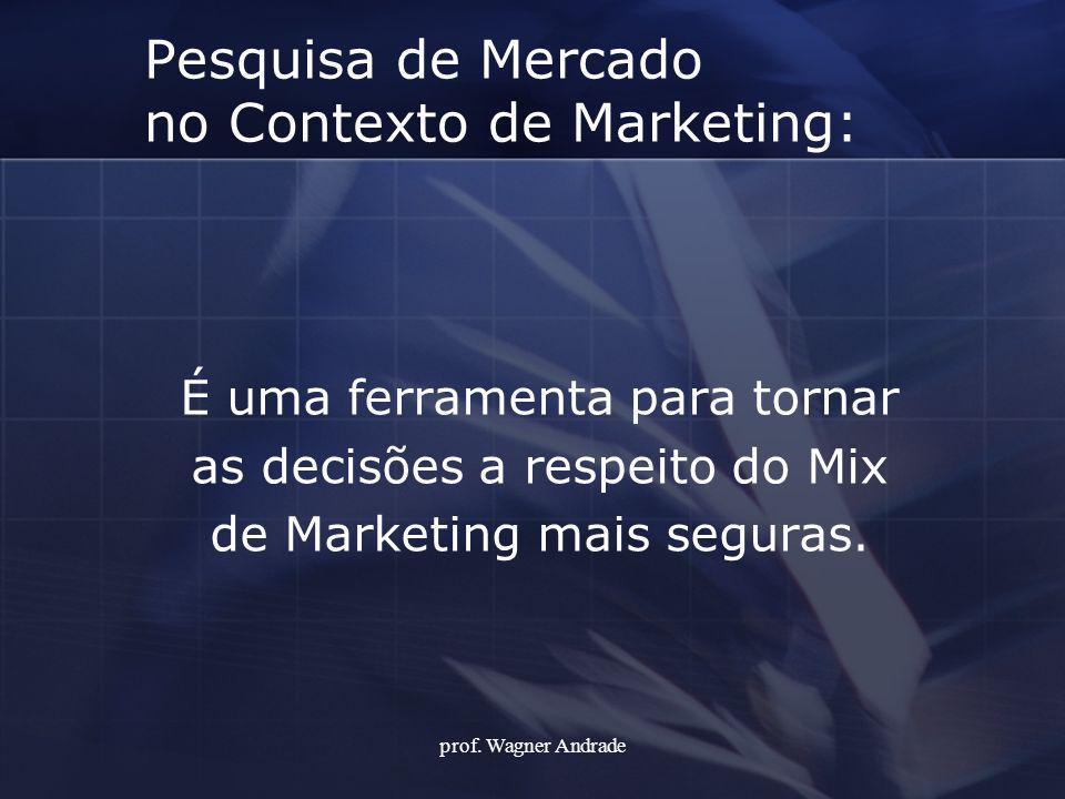 Pesquisa de Mercado no Contexto de Marketing: É uma ferramenta para tornar as decisões a respeito do Mix de Marketing mais seguras. prof. Wagner Andra