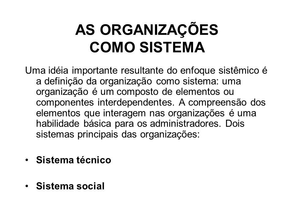 AS ORGANIZAÇÕES COMO SISTEMA Uma idéia importante resultante do enfoque sistêmico é a definição da organização como sistema: uma organização é um composto de elementos ou componentes interdependentes.