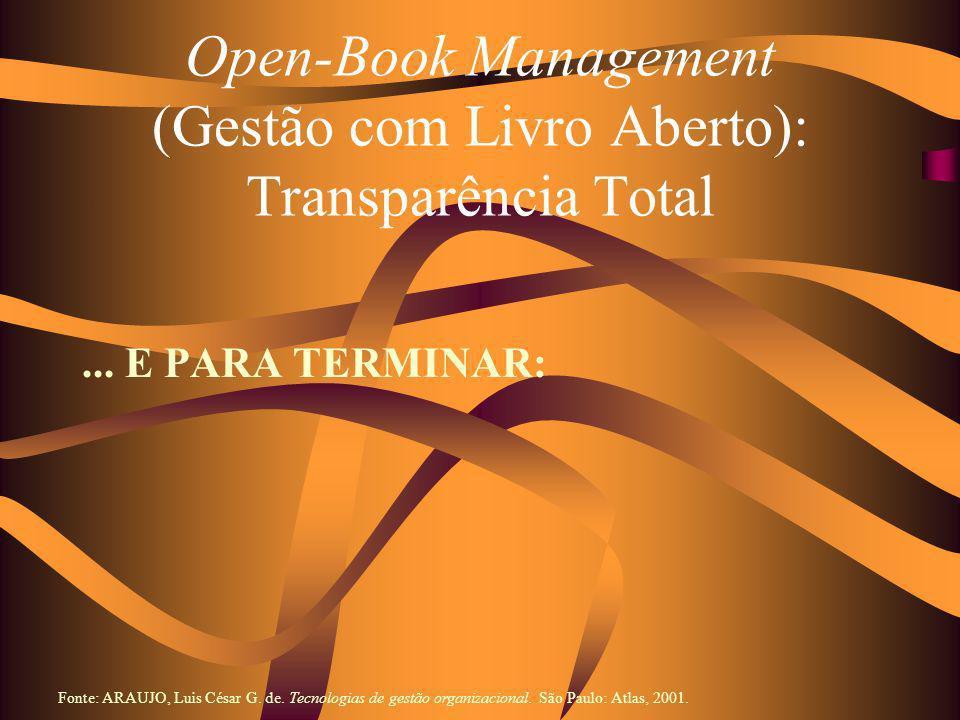 Open-Book Management (Gestão com Livro Aberto): Transparência Total... E PARA TERMINAR: Fonte: ARAUJO, Luis César G. de. Tecnologias de gestão organiz