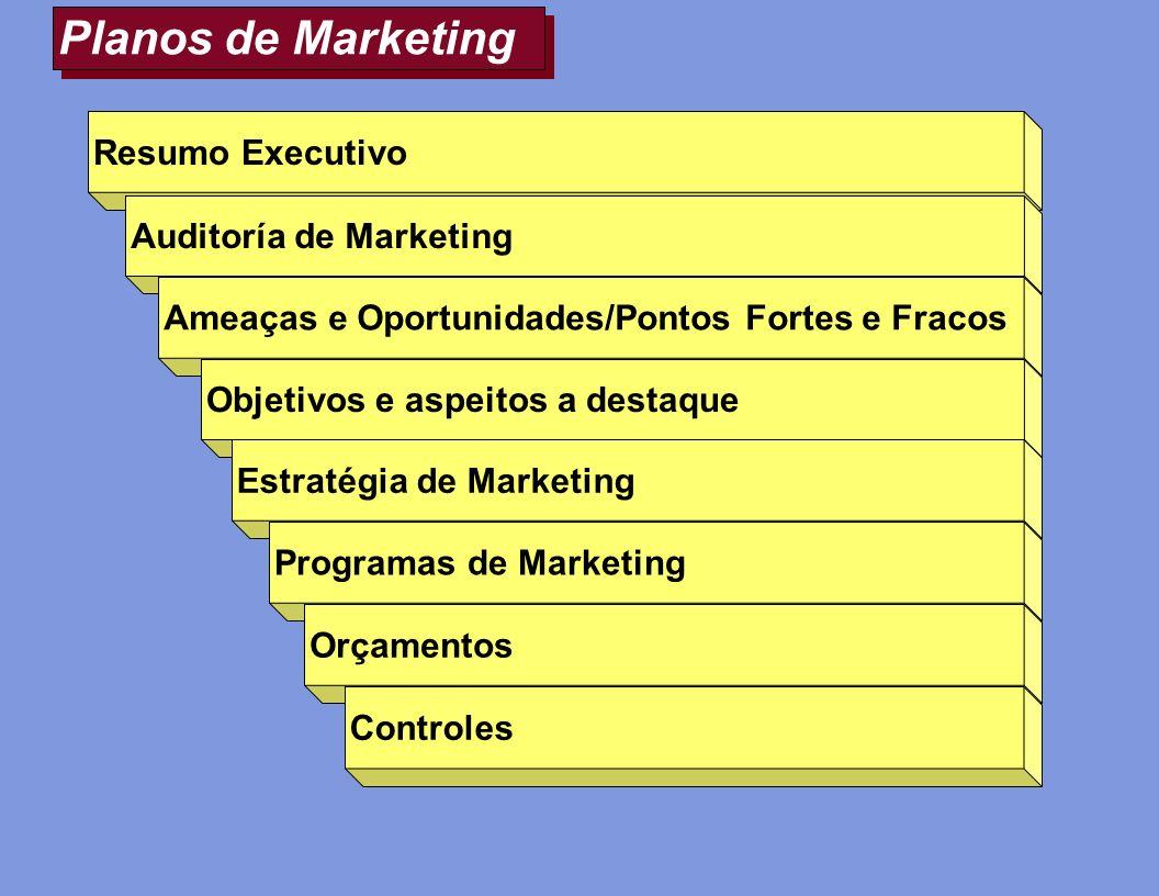 Planos de Marketing Resumo Executivo Auditoría de Marketing Ameaças e Oportunidades/Pontos Fortes e Fracos Objetivos e aspeitos a destaque Estratégia