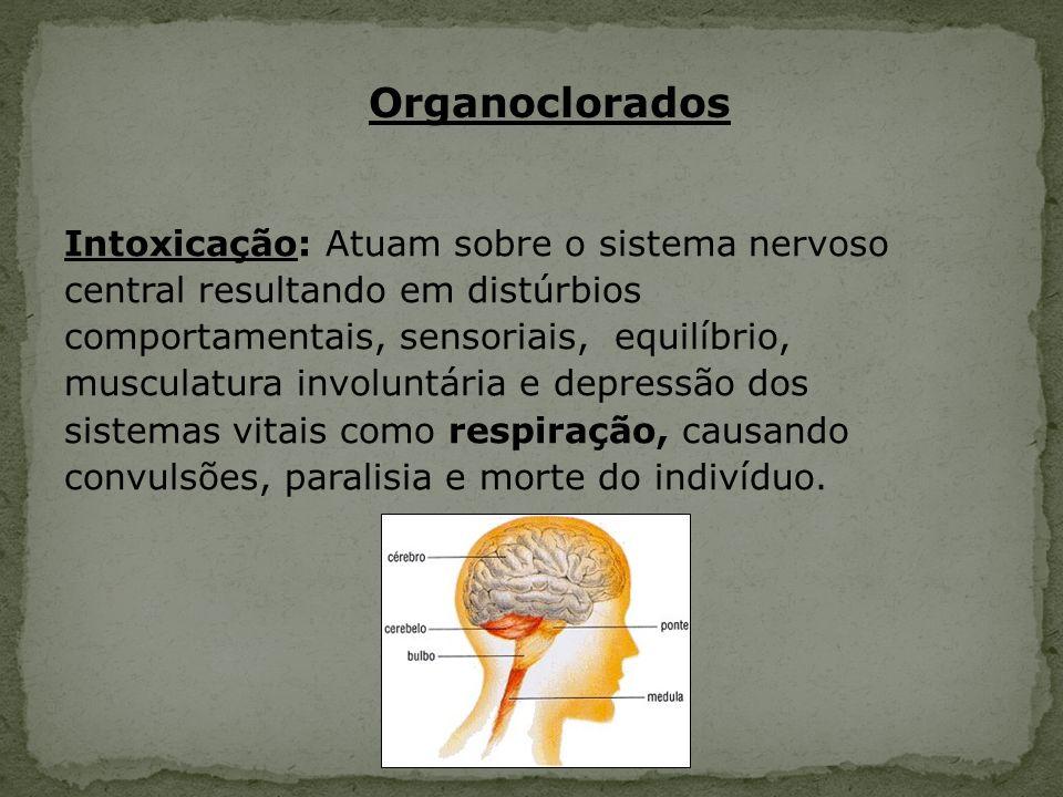 Intoxicação: Atuam sobre o sistema nervoso central resultando em distúrbios comportamentais, sensoriais, equilíbrio, musculatura involuntária e depres