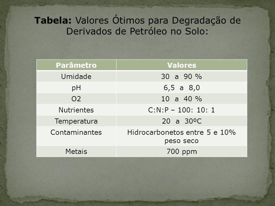 Tabela: Valores Ótimos para Degradação de Derivados de Petróleo no Solo: ParâmetroValores Umidade30 a 90 % pH6,5 a 8,0 O210 a 40 % NutrientesC:N:P – 1