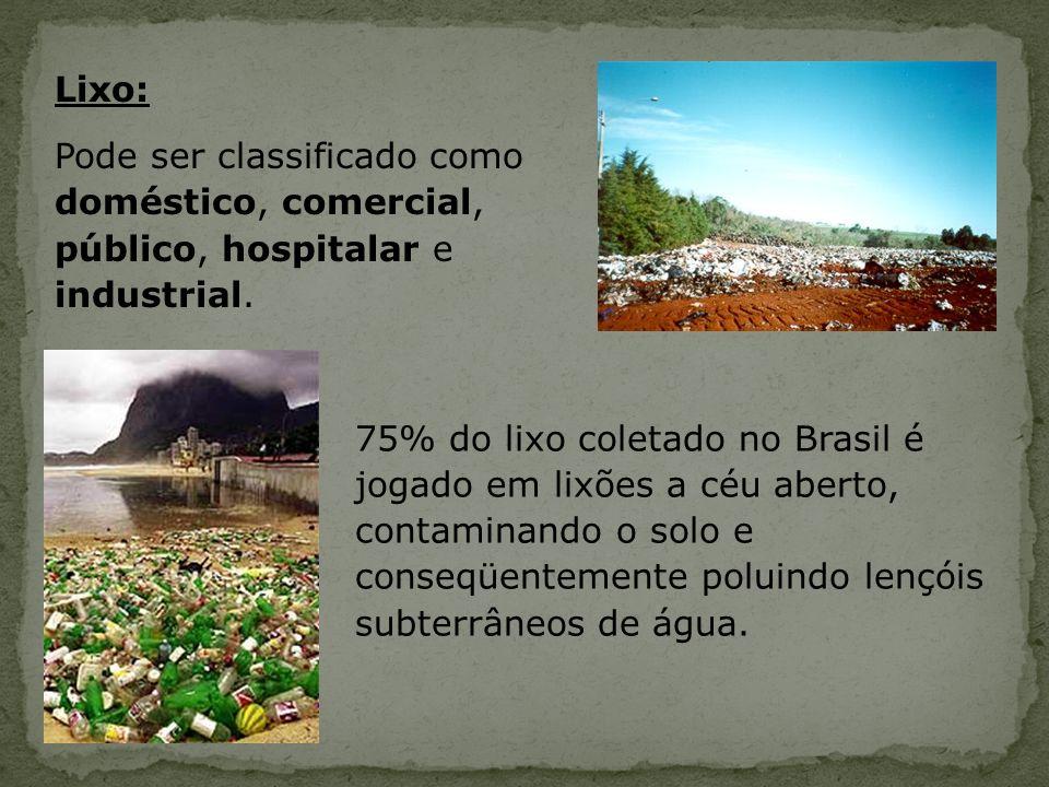 Lixo: Pode ser classificado como doméstico, comercial, público, hospitalar e industrial. 75% do lixo coletado no Brasil é jogado em lixões a céu abert