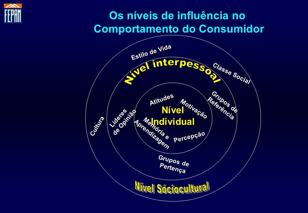 Os níveis de influência no Comportamento do Consumidor NívelIndividual Percepção Memória e Aprendizagem Motivação Atitudes Grupos de Pertença Referênc