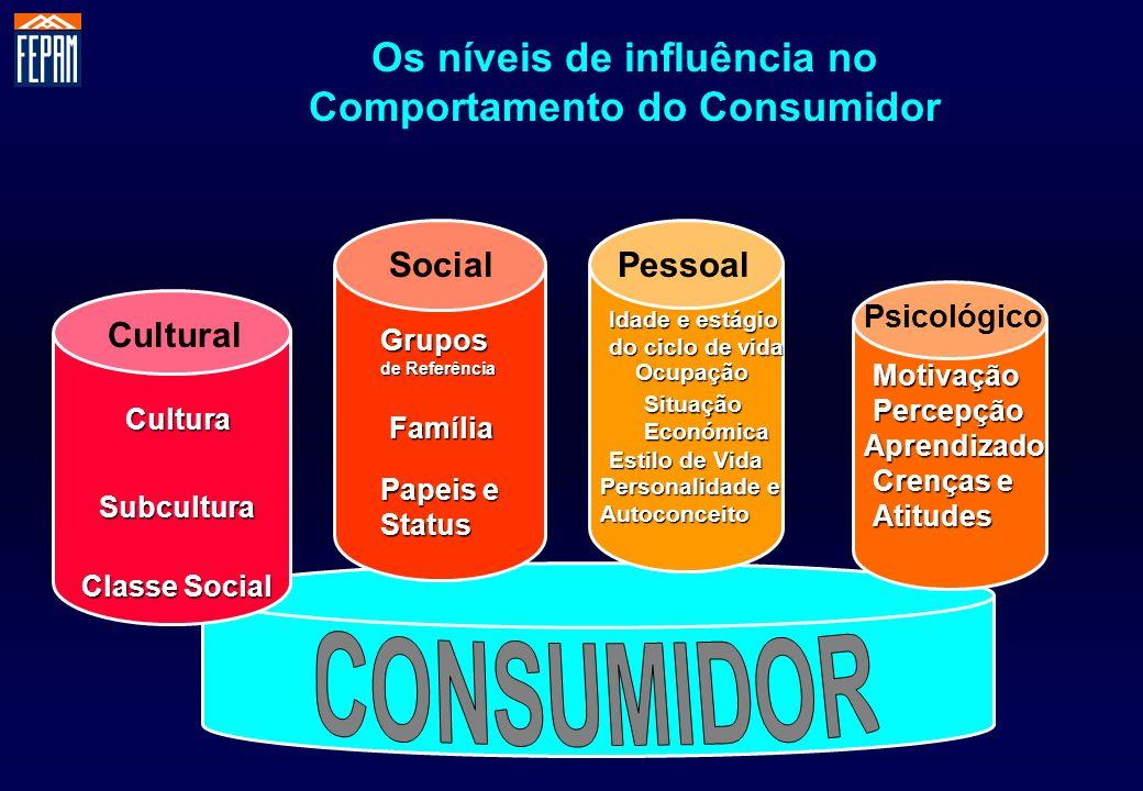Os níveis de influência no Comportamento do Consumidor Cultural SocialPessoal Psicológico Cultura Subcultura Classe Social Papeis e Status Família Gru