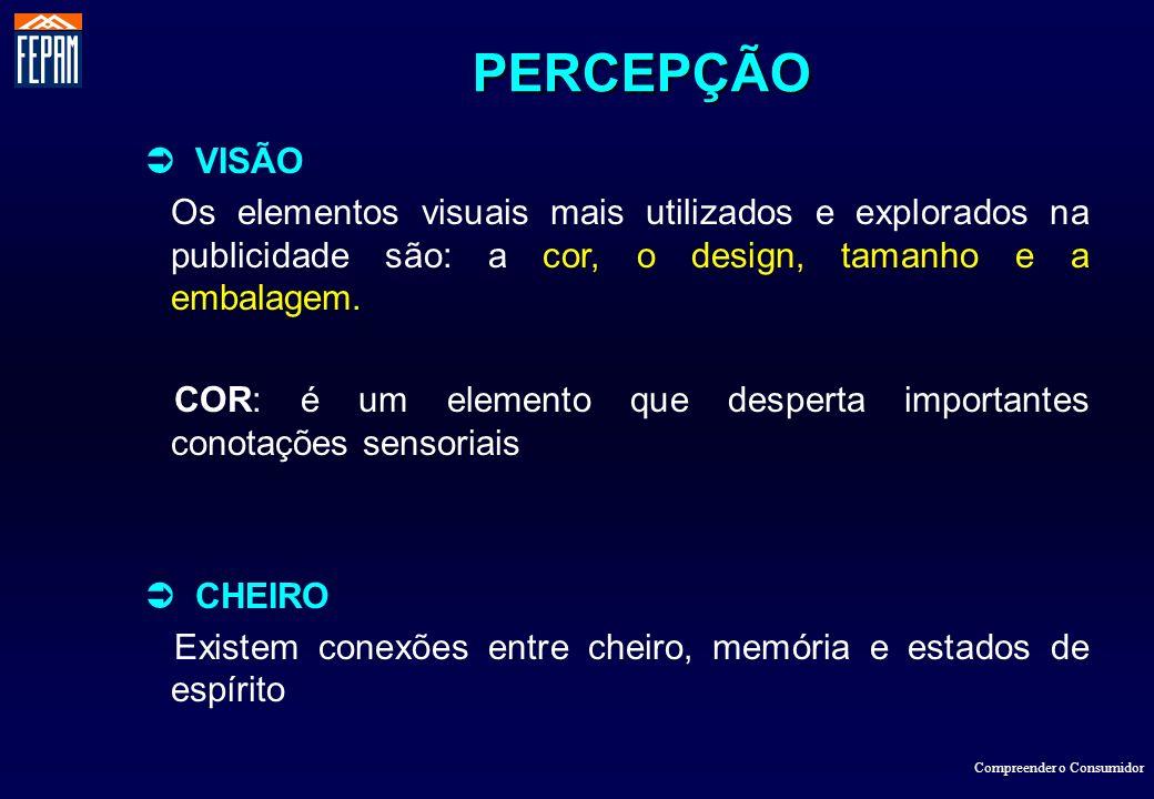 Compreender o Consumidor VISÃO Os elementos visuais mais utilizados e explorados na publicidade são: a cor, o design, tamanho e a embalagem. COR: é um