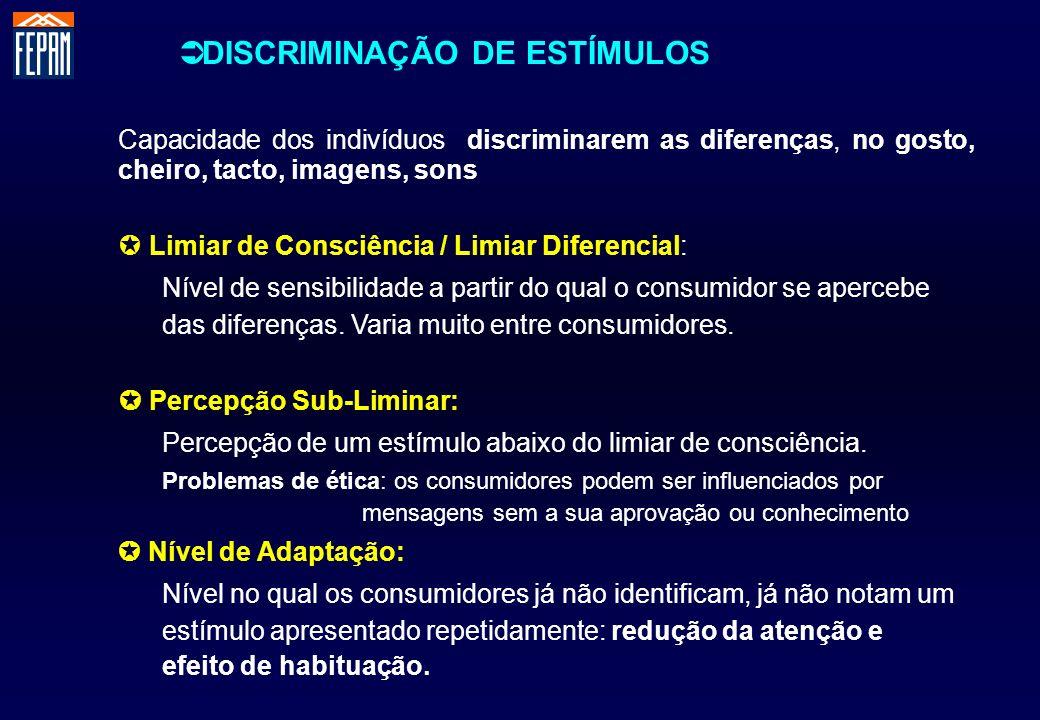 DISCRIMINAÇÃO DE ESTÍMULOS Capacidade dos indivíduos discriminarem as diferenças, no gosto, cheiro, tacto, imagens, sons Limiar de Consciência / Limia