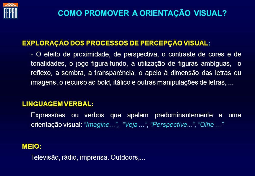 COMO PROMOVER A ORIENTAÇÃO VISUAL? EXPLORAÇÃO DOS PROCESSOS DE PERCEPÇÃO VISUAL: - O efeito de proximidade, de perspectiva, o contraste de cores e de