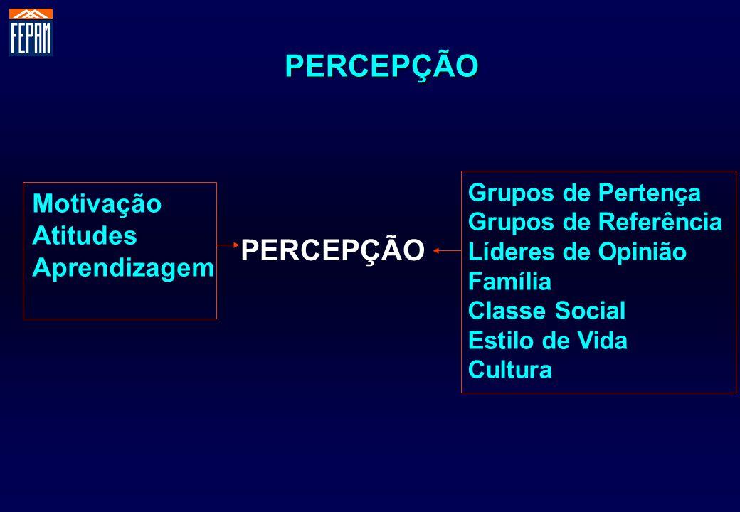 PERCEPÇÃO Grupos de Pertença Grupos de Referência Líderes de Opinião Família Classe Social Estilo de Vida Cultura Motivação Atitudes Aprendizagem PERC