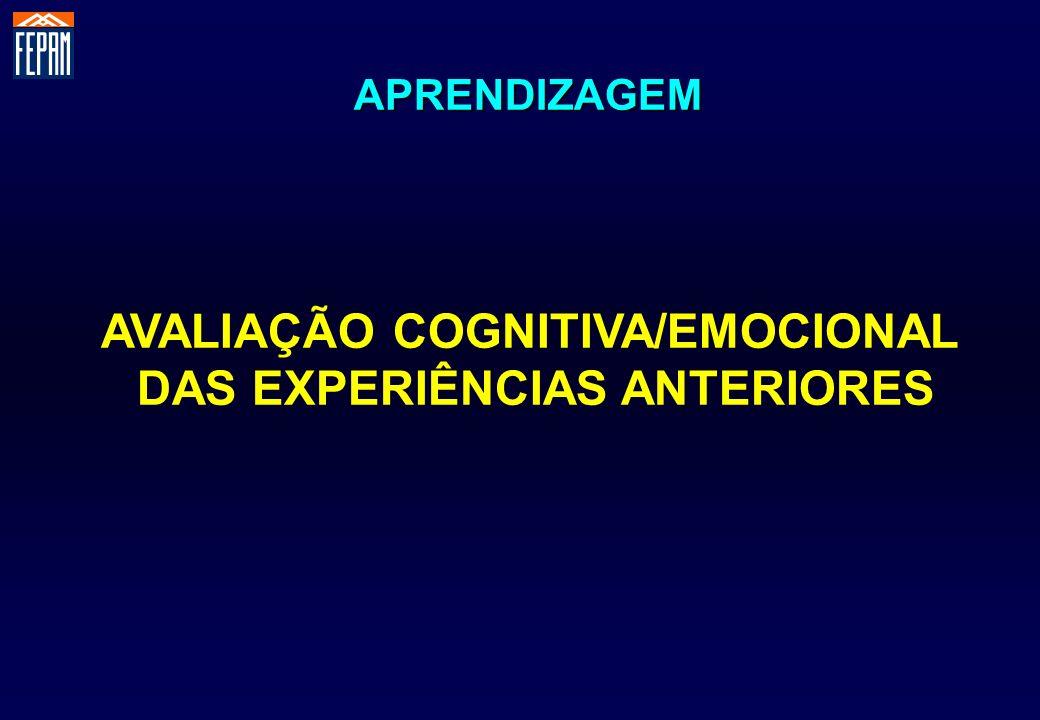 AVALIAÇÃO COGNITIVA/EMOCIONAL DAS EXPERIÊNCIAS ANTERIORES APRENDIZAGEM