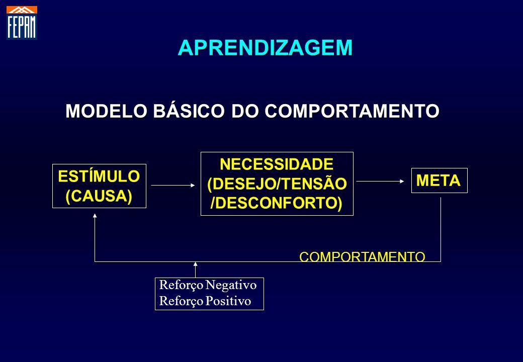 MODELO BÁSICO DO COMPORTAMENTO ESTÍMULO (CAUSA) NECESSIDADE (DESEJO/TENSÃO /DESCONFORTO) META COMPORTAMENTO APRENDIZAGEM Reforço Positivo Reforço Nega