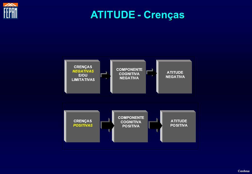 CRENÇAS NEGATIVAS E/OU LIMITATIVAS COMPONENTE COGNITIVA NEGATIVA ATITUDE NEGATIVA ATITUDE POSITIVA COMPONENTE COGNITIVA POSITIVA CRENÇAS POSITIVAS ATI