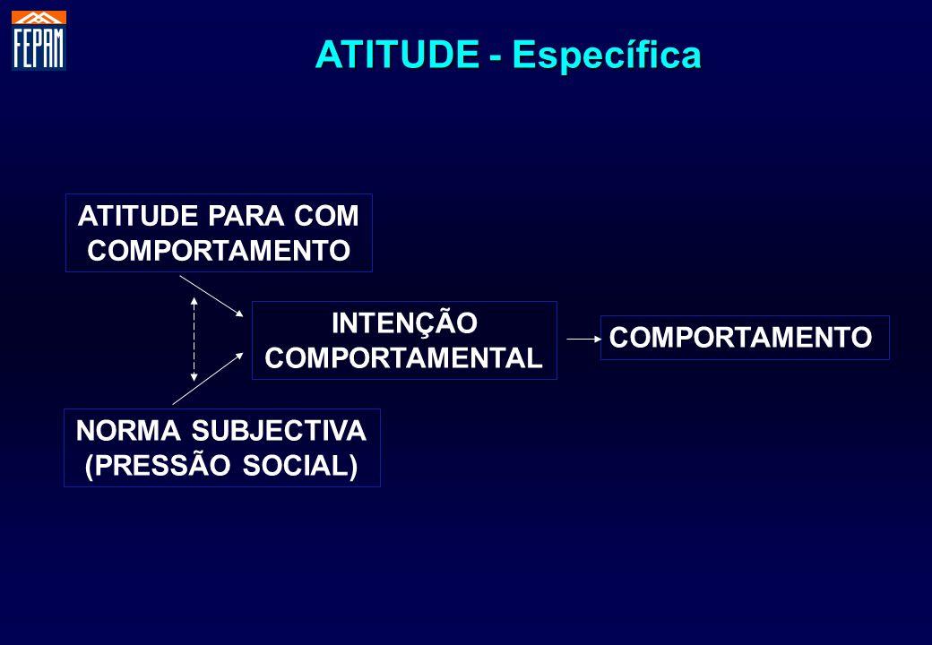 ATITUDE PARA COM COMPORTAMENTO NORMA SUBJECTIVA (PRESSÃO SOCIAL) INTENÇÃO COMPORTAMENTAL COMPORTAMENTO ATITUDE - Específica