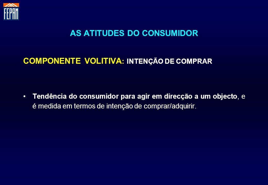 AS ATITUDES DO CONSUMIDOR COMPONENTE VOLITIVA : INTENÇÃO DE COMPRAR Tendência do consumidor para agir em direcção a um objecto, e é medida em termos d