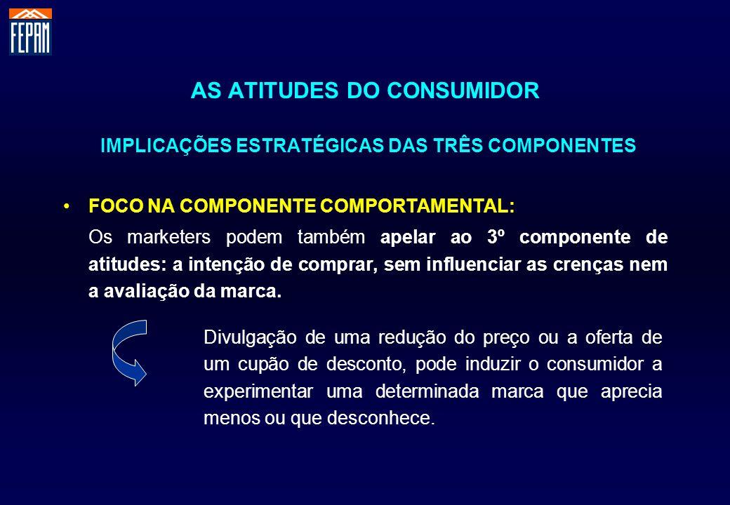 AS ATITUDES DO CONSUMIDOR IMPLICAÇÕES ESTRATÉGICAS DAS TRÊS COMPONENTES FOCO NA COMPONENTE COMPORTAMENTAL: Os marketers podem também apelar ao 3º comp