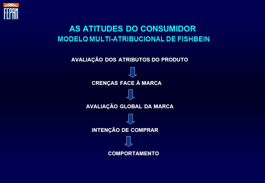 AS ATITUDES DO CONSUMIDOR MODELO MULTI-ATRIBUCIONAL DE FISHBEIN AVALIAÇÃO DOS ATRIBUTOS DO PRODUTO CRENÇAS FACE À MARCA AVALIAÇÃO GLOBAL DA MARCA INTE