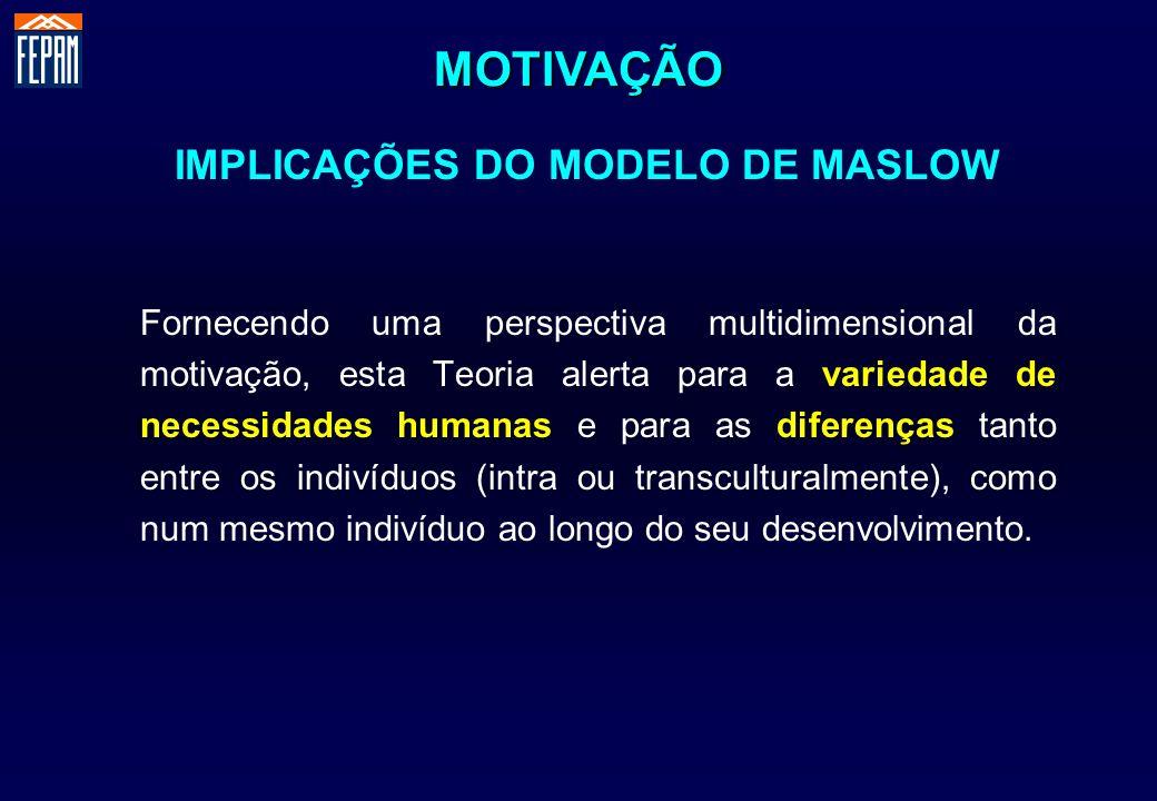 IMPLICAÇÕES DO MODELO DE MASLOW Fornecendo uma perspectiva multidimensional da motivação, esta Teoria alerta para a variedade de necessidades humanas