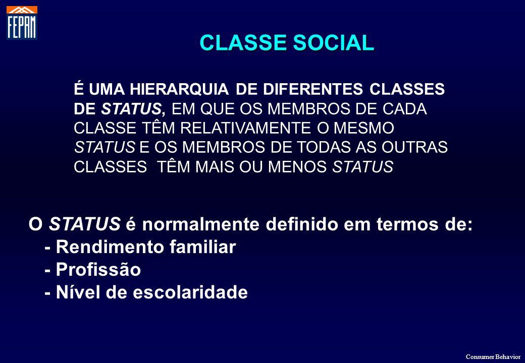 CLASSE SOCIAL Consumer Behavior É UMA HIERARQUIA DE DIFERENTES CLASSES DE STATUS, EM QUE OS MEMBROS DE CADA CLASSE TÊM RELATIVAMENTE O MESMO STATUS E