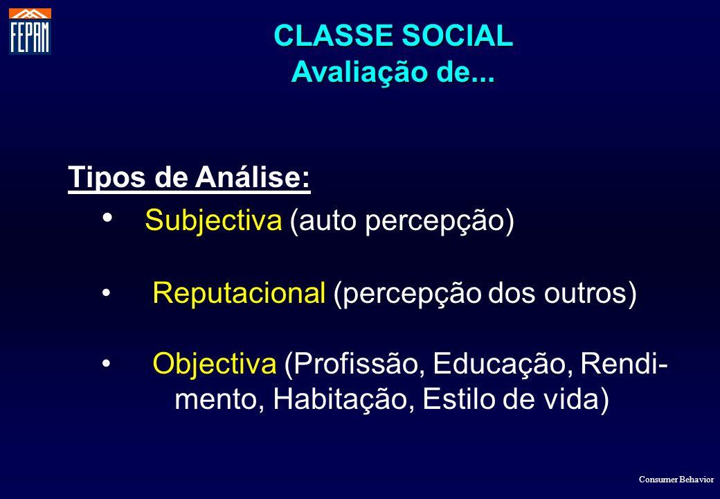 CLASSE SOCIAL Avaliação de... Consumer Behavior Tipos de Análise: Subjectiva (auto percepção) Reputacional (percepção dos outros) Objectiva (Profissão