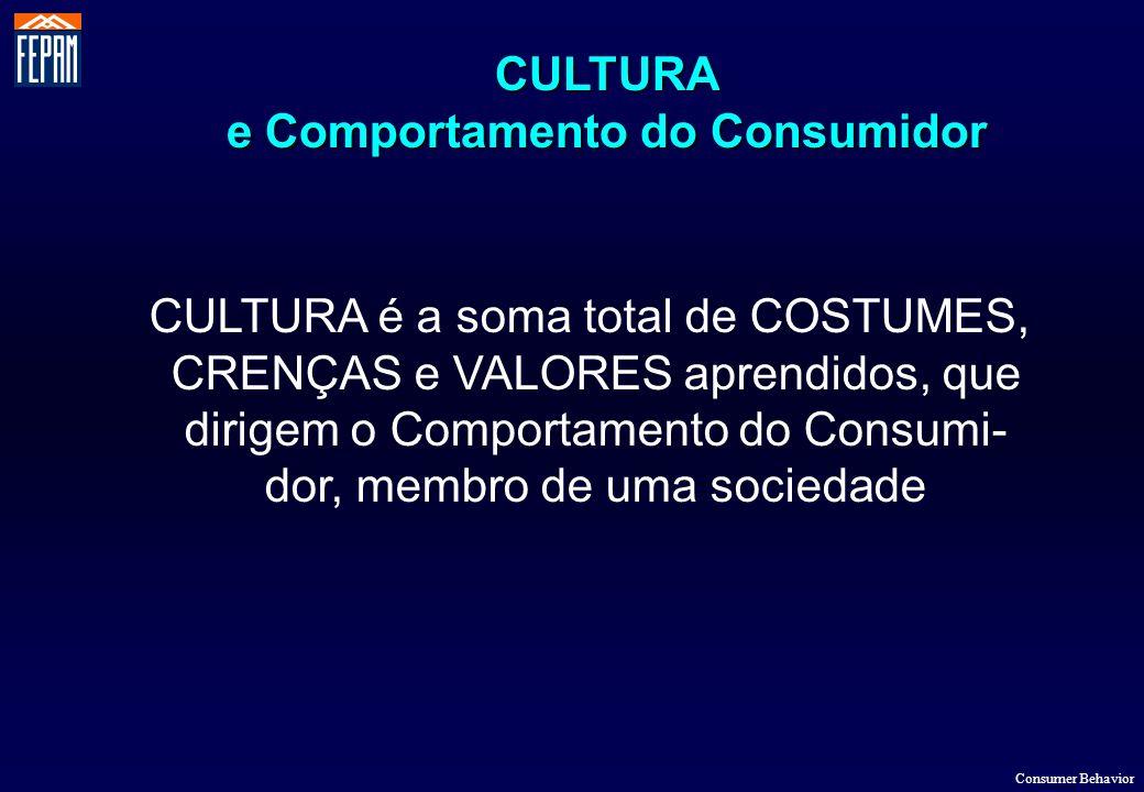 CULTURA e Comportamento do Consumidor Consumer Behavior CULTURA é a soma total de COSTUMES, CRENÇAS e VALORES aprendidos, que dirigem o Comportamento