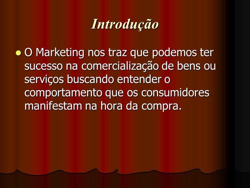 Introdução O Marketing nos traz que podemos ter sucesso na comercialização de bens ou serviços buscando entender o comportamento que os consumidores m