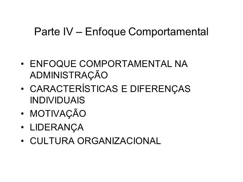 Parte IV – Enfoque Comportamental ENFOQUE COMPORTAMENTAL NA ADMINISTRAÇÃO CARACTERÍSTICAS E DIFERENÇAS INDIVIDUAIS MOTIVAÇÃO LIDERANÇA CULTURA ORGANIZ