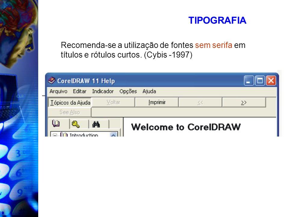 TIPOGRAFIA Recomenda-se a utilização de fontes sem serifa em títulos e rótulos curtos. (Cybis -1997)