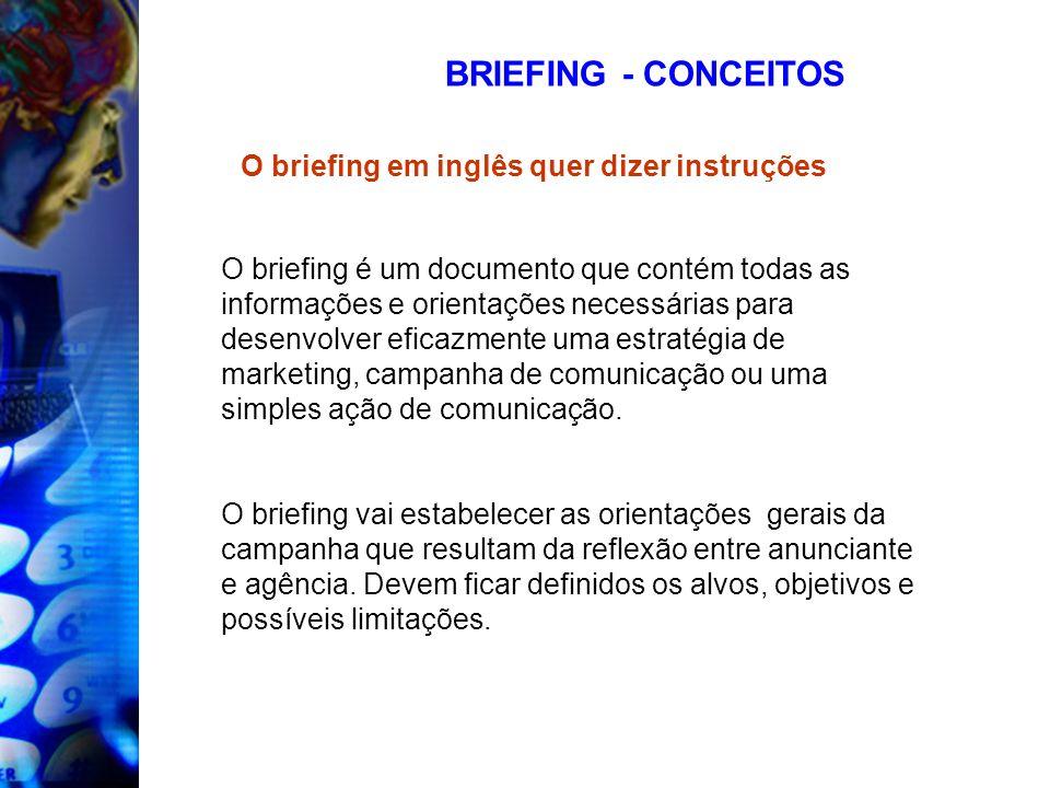 BRIEFING - CONCEITOS O briefing é um documento que contém todas as informações e orientações necessárias para desenvolver eficazmente uma estratégia d