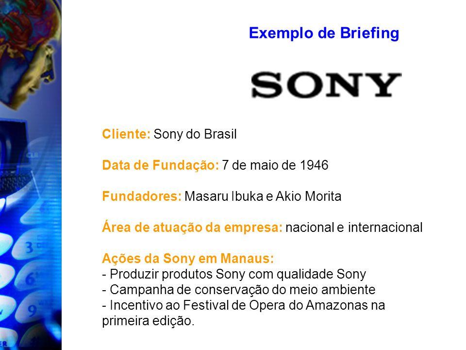 Exemplo de Briefing Cliente: Sony do Brasil Data de Fundação: 7 de maio de 1946 Fundadores: Masaru Ibuka e Akio Morita Área de atuação da empresa: nac