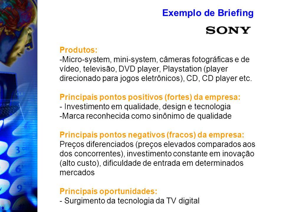 Produtos: -Micro-system, mini-system, câmeras fotográficas e de vídeo, televisão, DVD player, Playstation (player direcionado para jogos eletrônicos),