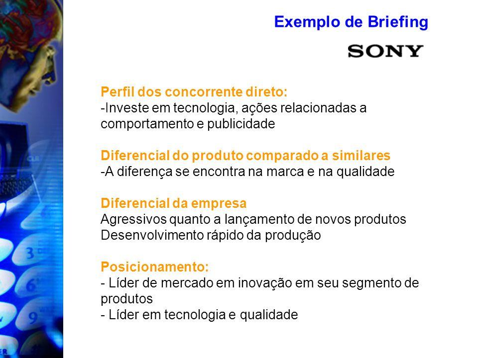 Exemplo de Briefing Perfil dos concorrente direto: -Investe em tecnologia, ações relacionadas a comportamento e publicidade Diferencial do produto com