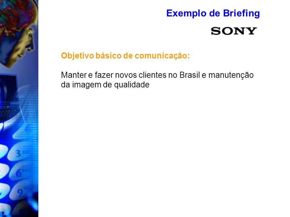 Exemplo de Briefing Objetivo básico de comunicação: Manter e fazer novos clientes no Brasil e manutenção da imagem de qualidade