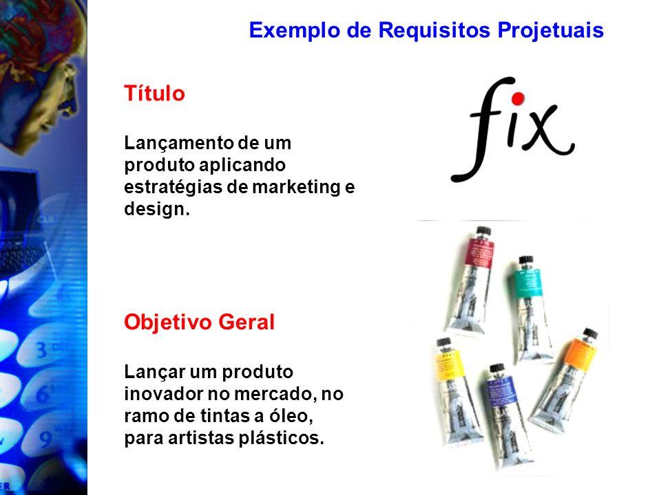 Exemplo de Requisitos Projetuais Objetivo Geral Lançar um produto inovador no mercado, no ramo de tintas a óleo, para artistas plásticos. Título Lança